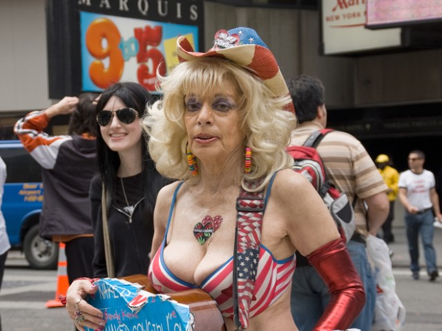 Naked Cowgirl Sandy Kane, 50, was accused of infringing upon the Naked Cowboy brand.