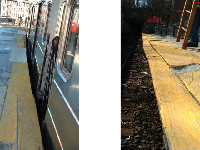 Views of broken edge of 1 train platform on Dyckman Street.