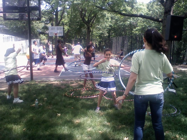Kids and parents gave hula hooping a twirl.