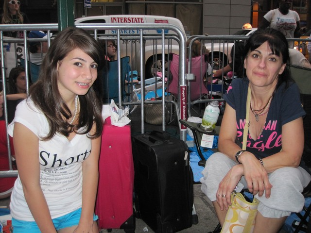 Angie Gambuzza, 47, came to Manhattan with her daughter, Gabrielle, 14, with two small suitcases full of snacks, drinks, sweaters, and blankets for what will be a 20-hour camp out to see Justin Bieber perform.