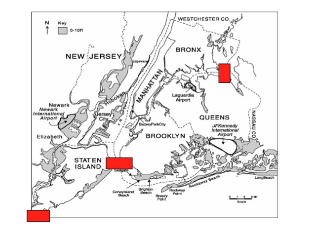Locations of proposed storm surge barriers at Arthur Kill, the Upper East River and the Verrazano Narrows.