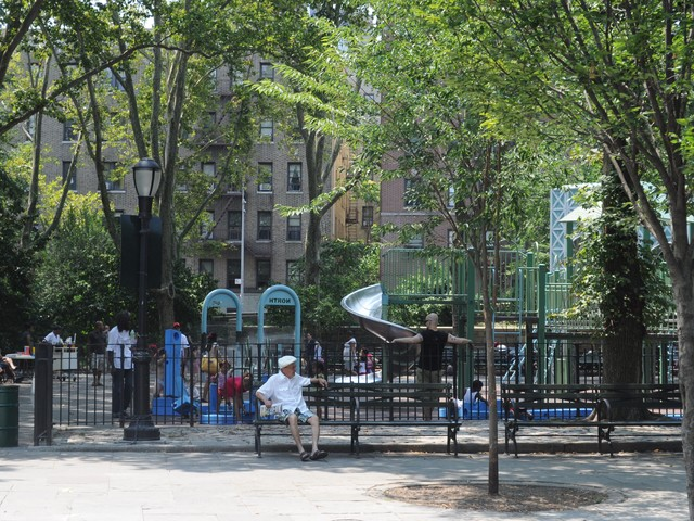 The Imagination Playground set is part of a larger playground with multiple play areas at J. Hood Wright playground.