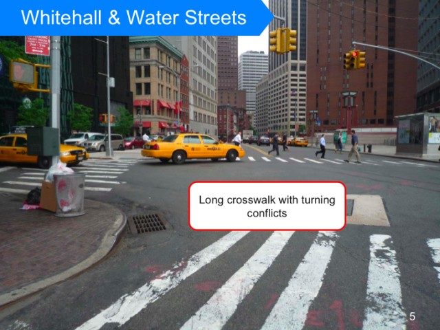 Water Street's width makes it difficult to cross.