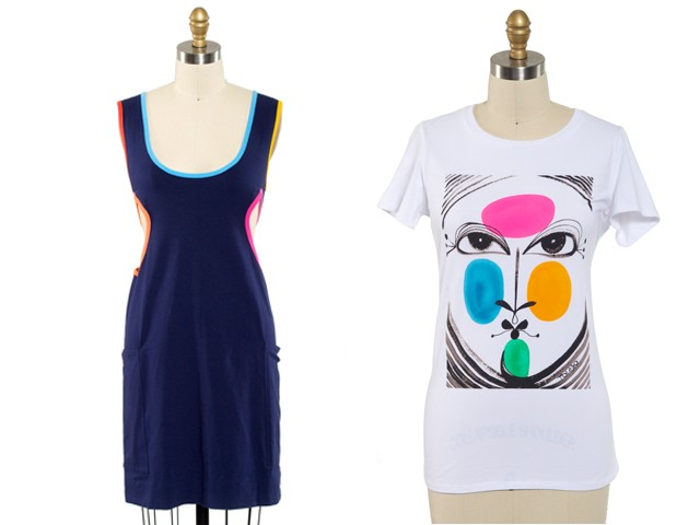 The Toledo's designs will benefit El Museo Del Barrio. (L. to R.): Cut-Out Coverup, $24.99; Face T-Shirt, $19.99.