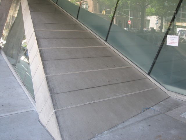 New metal spike strips were installed on the Cooper Union's academic building to prevent skateboarding.