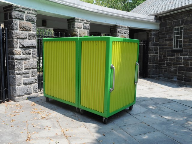 According to father Steve Wells, the accordion-like container that holds the pieces of the playground appeared last month, piquing the interest of Washington Heights parents.