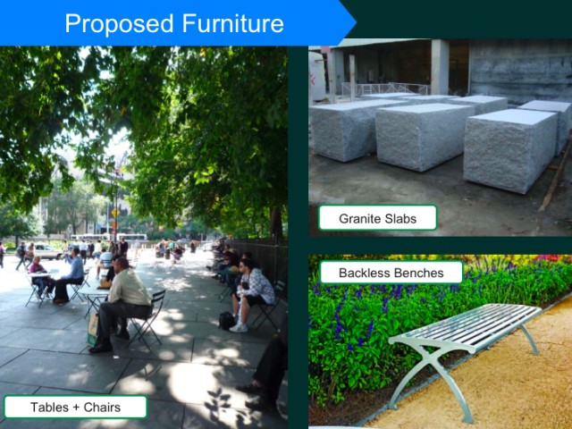Examples of the seating the city plans to install in the new plaza.