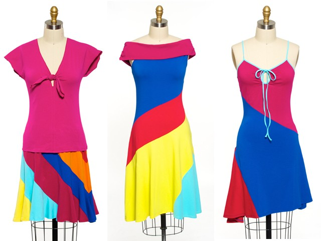 Stephen Burrows designs (L. to R.): Tie-Front Top, $19.99; Multicolor Strip Skirt, $24.99; Off-the-Shoulder Dress, $34.99; Keyhole Tank Dress, $34.99.