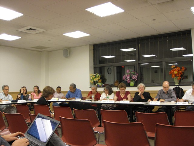 Community Board 7 members during a nearly four-hour discussion of Riverside Center in July.