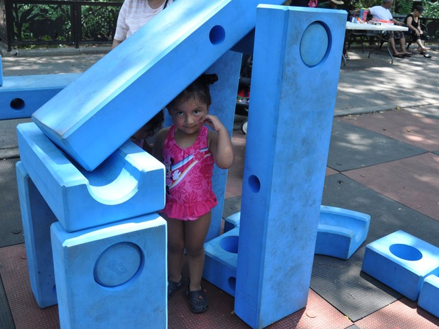 Rachel Gutierrez, 3, pretended she was a princess in a castle she built for herself.
