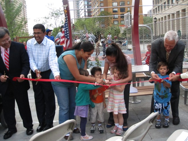 Children from the Battery Park City Day Nursery helped cut the ribbon on the new West Thames Park.