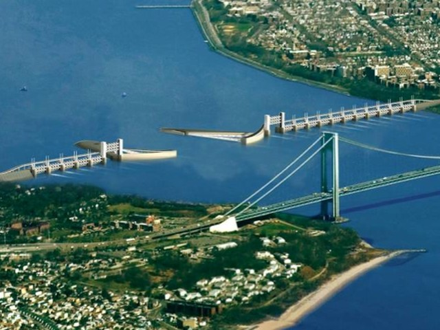 This storm surge barrier conceptual design for the Verrazano Narrows, created by Arcadis, would cost approximately $6.5 billion.