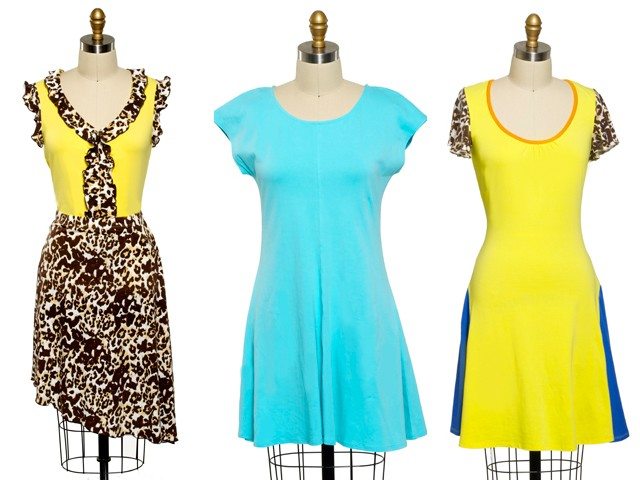 Burrows fanciful and feminine combinations (L. to R.): Leopard Ruffle Top, $19.99; Leopard Skirt, $24.99; Short-Sleeve Solid Dress, $29.99; Leopard Print Short-Sleeve Dress, $34.99.