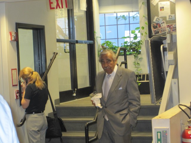 Charlie Rangel enters Manhattan Neighborhood Network studios for tonight's candidate forum.