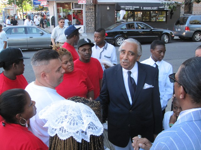 Rangel with supporters after the rally.
