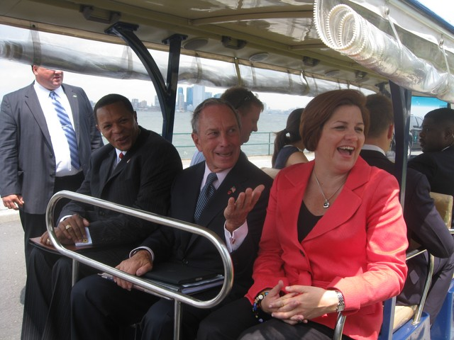 Mayor Michael Bloomberg and Council Speaker Christine Quinn make their way back to the ferry after their appearance.