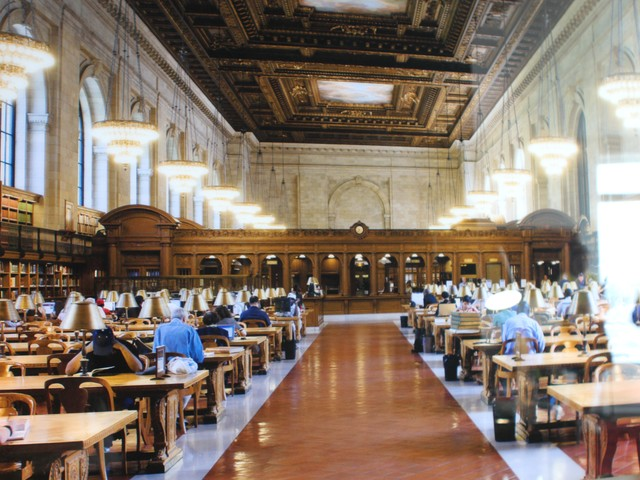 Reihnard Gorner's photograph of the New York City Public Library is on display in the brand-new foyer.
