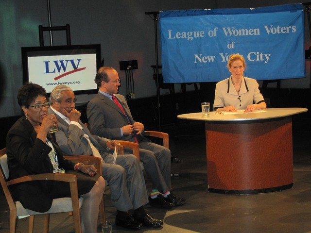 Candidates Joyce Johnson, Charlie Rangel, Jonathan Tasini and moderator Jane Colvin at Manhattan Neighborhood Network studios.