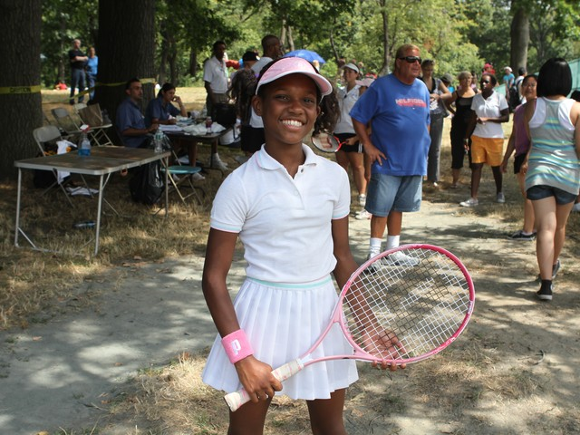 Bronx resident Reilanni Ramos, 12, aspires to be a biochemical engineer and tennis player when she gets older. She played for the Manhattan team Tuesday.