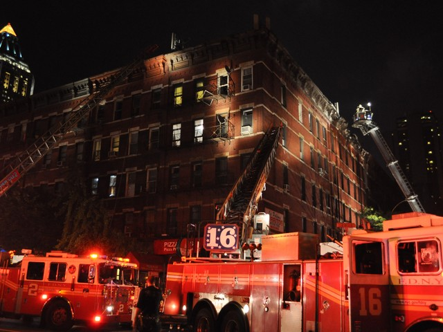 It took firefighters close to two hours to douse the three-alarm blaze at 359 W. 45th Street.