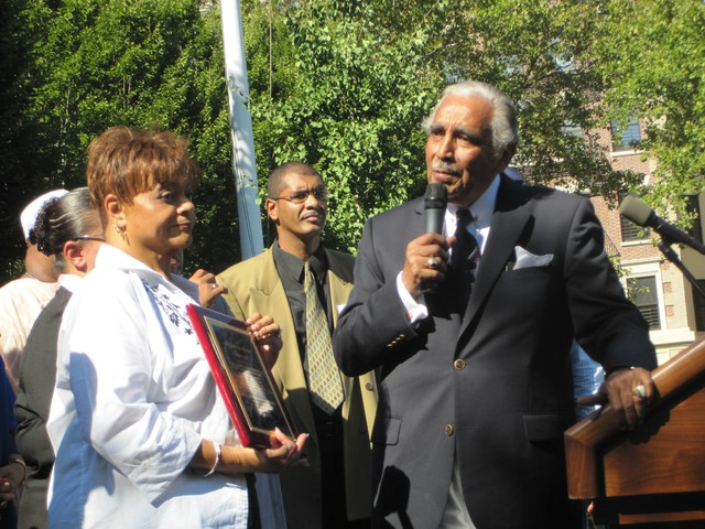 Rangel with City Councilwoman Inez Dickens.