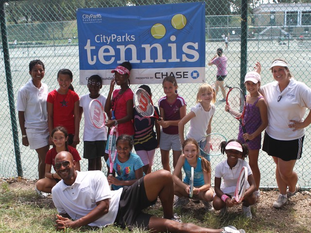 The Central Park team competed for Manhattan during Tuesday's Parks Novice Tennis Tournament.