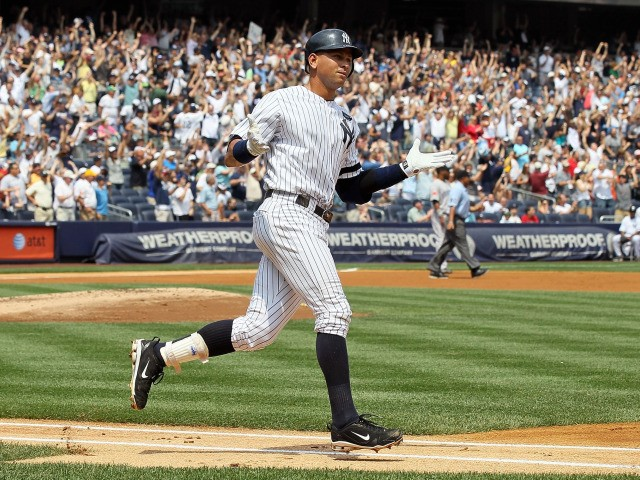 Alex Rodriguez runs the bases after hitting his 600th career home run in the first inning against Shaun Marcum #28 of the Toronto Blue Jays on August 4, 2010 at Yankee Stadium.