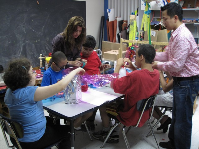 Students at the Jewish Guild for the Blind learn art.