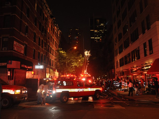 The three-alarm fire at 259 W. 45th St. broke out shortly after 10 p.m.