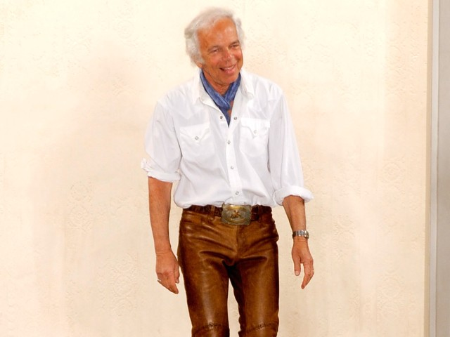 Bronx-born designer Ralph Lauren work shiny leather cowboy pants at his Mercedes-Benz Fashion Week show on Thursday.