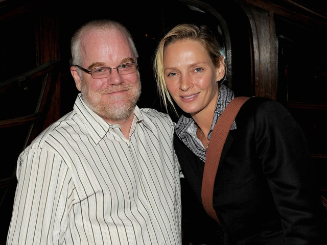 Actress Uma Thurman posed with Philip Seymour Hoffman at the premiere of his film