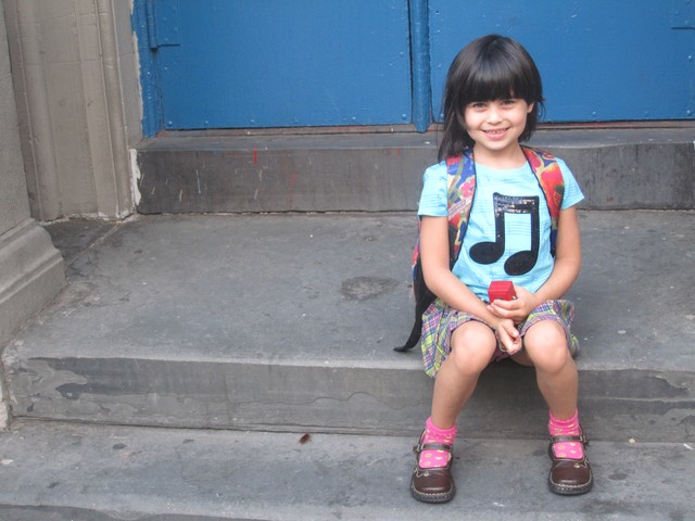 Gabriella Ramos, 5, had a cockroach sneak into her first day of school pictures at the new school. But that was okay with her, because Gabriella wants to be an entomologist, her mother Kim Ramos said.