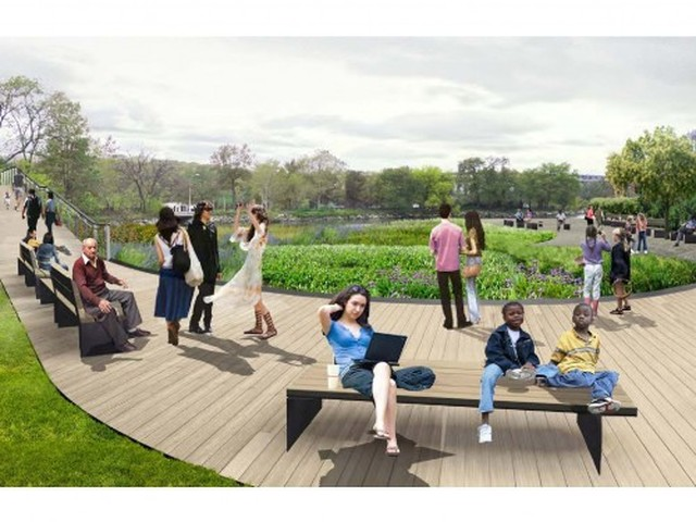 The waterfront access would be designed by James Corner Field Operations, the same firm that designed and executed the westside Highline downtown.