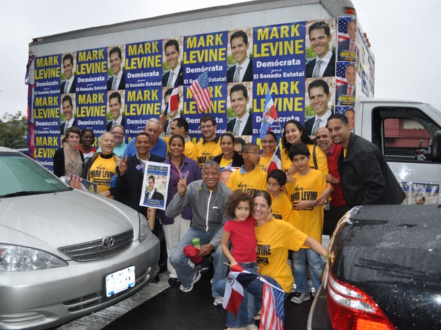 Dozens of friends, family and volunteers took part in the Levine caravan.