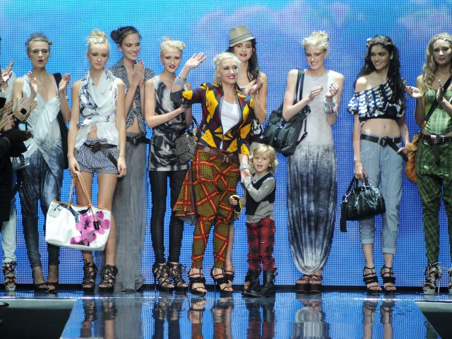 Kingston Rossdale, 5, accompanied mom, Gwen Stefani, on stage after her fashion show on Thursday.