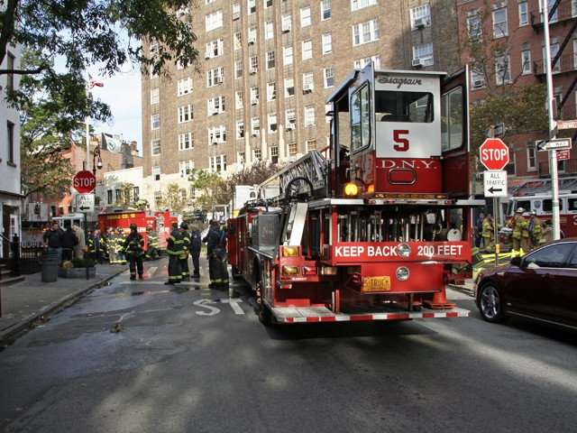 The FDNY closed down Waverly Place from Gay to Grove Streets Monday morning.