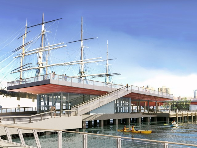 The new two-level Pier 15 will include a cafe and a maritime education center.