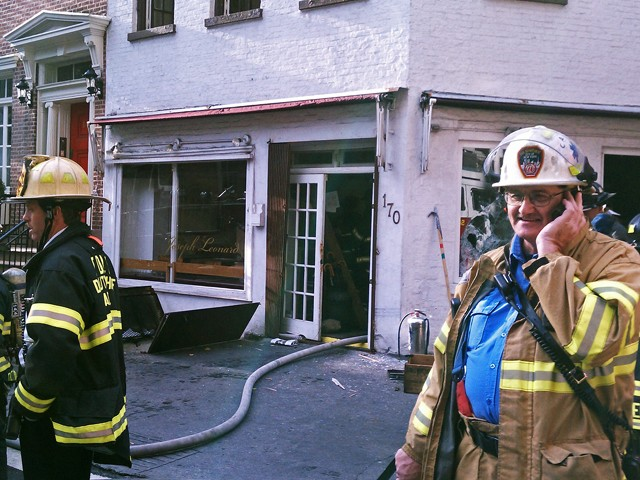 Firemen put out a blaze in the basement of restaurant Joseph Leonard at 170 Waverly Place on Monday, October 18, 2010.
