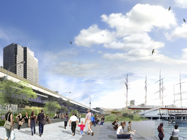 A rendering of the soon-to-open section of the esplanade, looking north toward Pier 15.