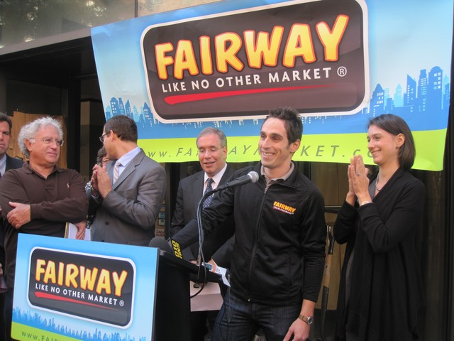 CEO Howard Glickberg (far left) emphasized that Fairway is a family tradition that continues with his son and Executive Vice President, Dan Glickberg, (r.).
