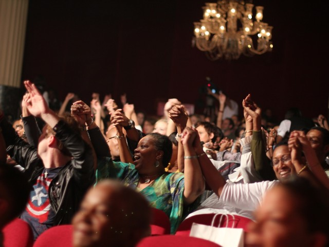 The audience at the Apollo sung