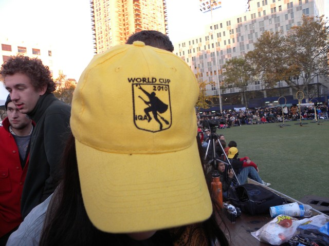 An announcer showed off her 2010 Quidditch World Cup hat.