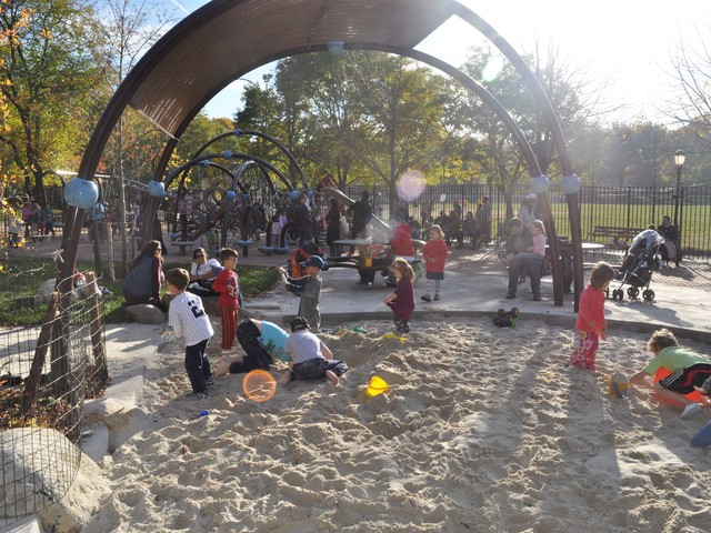 Children played at Indian Road Playground on Nov. 15, 2010, the day the playground was first opened to the public. The Parks Department plans to host a ribbon cutting ceremony on April 11, 2011 to officially christen the playground.