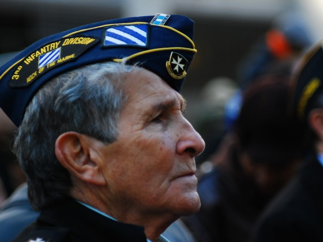 Korea veteran Sammy Vasquez, 80, from the Bronx at the 91st annual New York City Veteran's Day Parade Thursday.