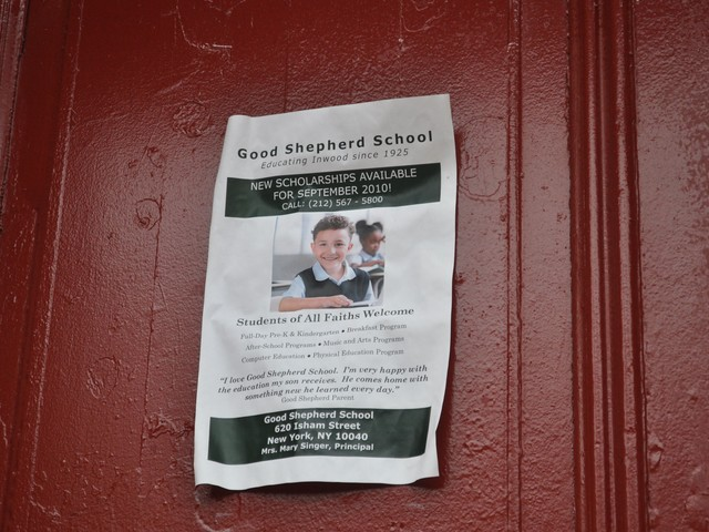 A sign at Good Shepherd advertises scholarships for students of all religious faiths.