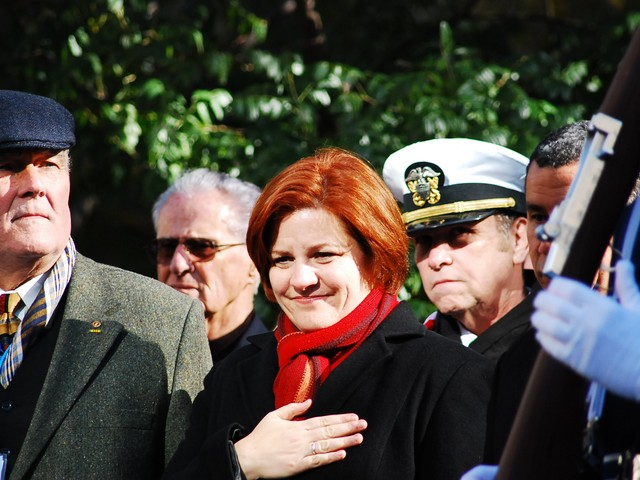 City Council Speaker Christine Quinn with the hand on her heart during the opening ceremony for the 91st annual New York City Veteran's Day Parade Thursday.