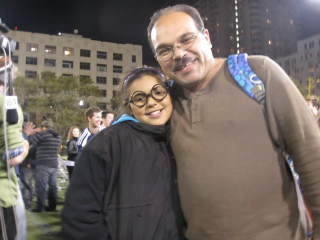 Albert Arbelo, 41, and Annika Omnia Arbelo, 9, traveled from the Bronx to watch the quidditch tournament.