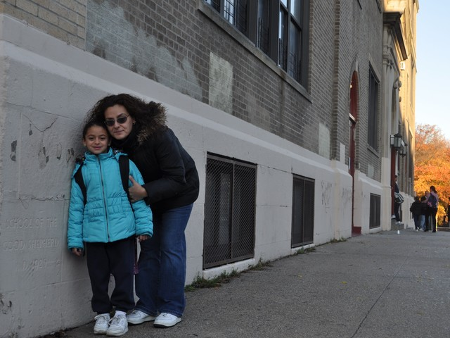 Inwood native Regina Christoforatos and her daughter Zoe Garcia outside Good Shepherd.