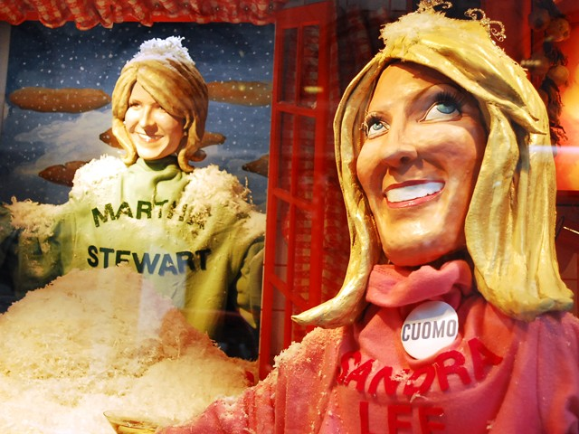 Sandra Lee and Martha Stewart grace The Food Network themed windows at Barney's.