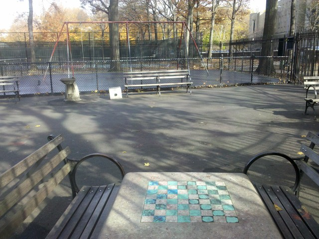 The stone tables with chess board inlay are at the center of a controversy between the NYPD and the community.